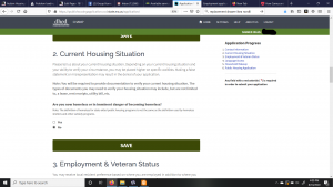 The CHAMP application: current housing situation