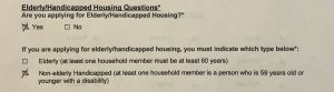 Question 7 of the CHAMP application, elderly/disabled units