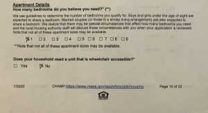 Part of question 7 of the CHAMP application, dealing with unit size and wheelchair accessibility