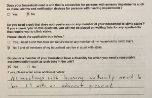 Part of question 7 of the CHAMP application, dealing with reasonable accommodations and modifications