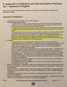 Part of question 8 of the CHAMP application, the applicant's certification